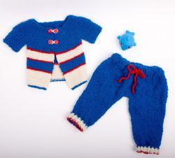 детский вязаный комплект жакет и штанишки для мальчика 3 6 месяцев
